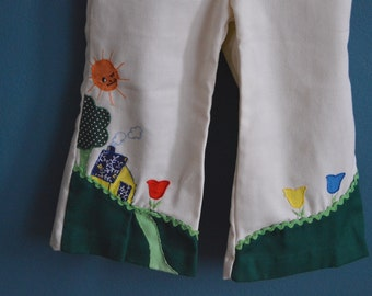 Vintage Girl's White Pants with Sun, House and Tree Applique - Size 24 Months 2T