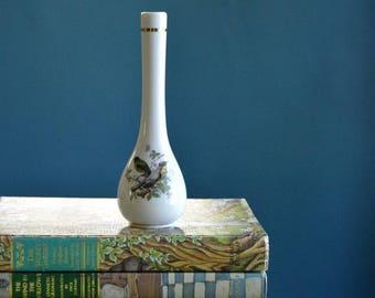 Vintage White Ceramic Bud Vase with Bird Print
