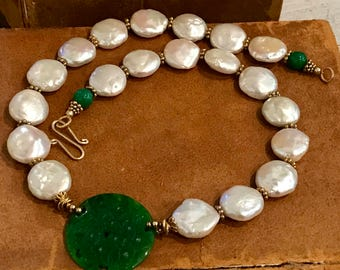 Beautiful Chinese Coin Pearl Green Jade Gold Gilt Vintage Necklace