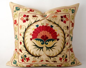20x20 Magnificent silk embroidery suzani pillow cover, suzani, bohemian, ethnic pillow cover delicate embroidery cushion fully handmade work