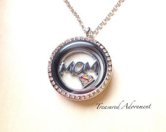 READY to SHIP, Super MOM Necklace, Mother's Day gift, Floating Locket Necklace, Gift for Mom, Thank you gift, Birthday gift for Mommy