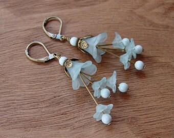 Vintage Style Matte Light Blue Lucite Flower Earrings