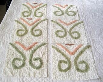 Six Vintage Ret Rac Matelasse and Geometric Chenille Bedspread Quilt Squares