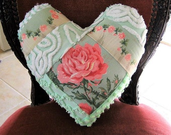 Vintage Chenille and Faille Cabbage Rose Valentine Pillow Crazy Quilt Heart Pillow