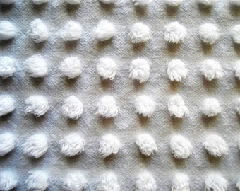 "Bright White FLUFFY Bunnytail Pops  Vintage Chenille Bedspread Fabric 25""x 26"""