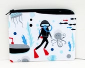 Small Zippered Pouch, Scuba Divers and Submarines, Coin Purse/Gift Card Holder
