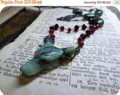 Wolf In Sheep's Clothing XVII | Carved Ruby in Zoisite Wolf Head Genuine Rubies, Ruby Zoisite Beaded Rosary Boho Occult Necklace Gothic OoaK