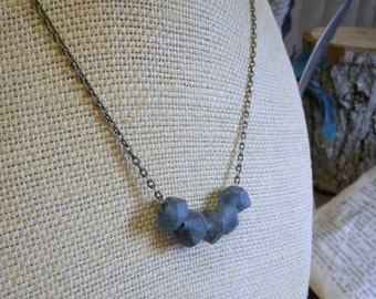 The Harbor Fog Necklace. Recycled hand carved beach glass & rustic brass necklace Gift for her under 20