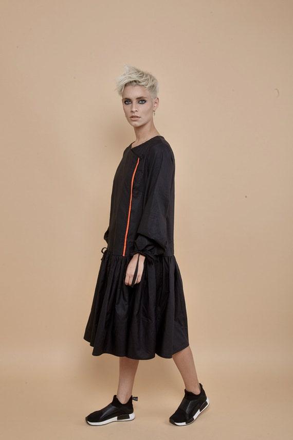 New black dress pleated dress shirt dress long sleeve for Black pleated dress shirt