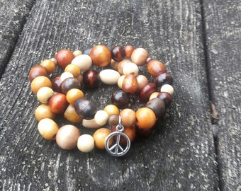 3 pc Multi brown stack peace hippie bracelet