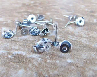 200 pcs 4mm Surgical Stainless Steel Flat Pad Earring Posts and Backs jewelry finding supplies