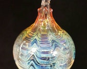 Blown glass ornament...rainbow lace by Erin Cartee