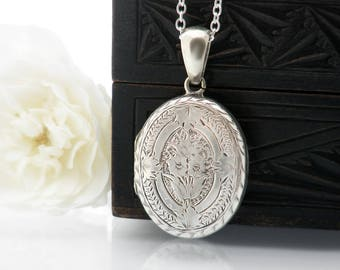 Victorian Locket | Sterling Silver Antique Locket | Medium Oval Locket, Glass Covers | Forget-Me-Not Flowers & Ivy - 20 Inch Sterling Chain