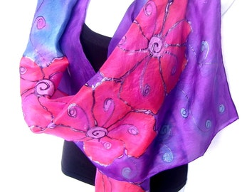 "Hand Painted Silk Scarf, Blue Purple Mauve Pink, Floral Silk Scarf, 71"" x 18"", Gift For Her"
