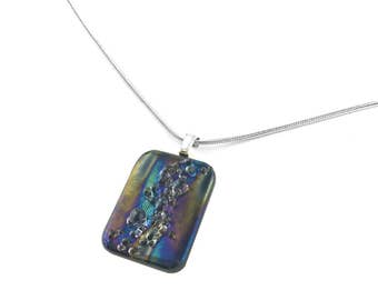 Pendant Necklace, Blue and Purple Iridescent, Matte Finish, Art Glass Jewelry