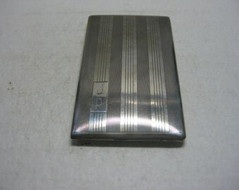 Vintage Art Deco International Sterling Cigarette Case Gold Wash 127 Grams
