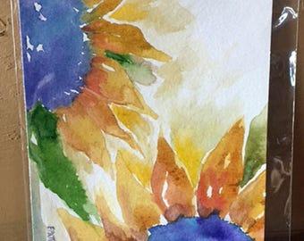 Original Handpainted Sunflower Watercolor Painting
