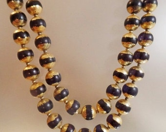 CHRISTMAS SALE Vintage Two Strand Black and Gilt Necklace.  Japan.  Gold Plated Black Bead Necklace.