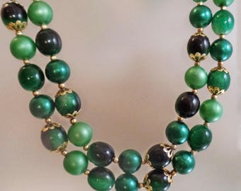 Vintage Long Green  Bead Necklace.  Hong Kong. Two Strand Shades of Green Beaded Necklace.