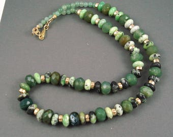 Chrysoprase and Green Agate Necklace, 19 Inch Strand of Green Speckled Chrysoprase and Solid Green Agate