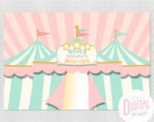 "Pink Vintage Circus Photo Backdrop, Printable Party Backdrop, 48"" x 72"", Printable Party Banner, Circus Banner, Personalized JPEG File"