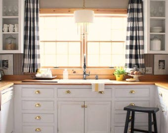 Buffalo Plaid Black and White Plaid Curtains, Black and Natural Checkered Curtains, Buffalo Plaid Black and Natural Valances