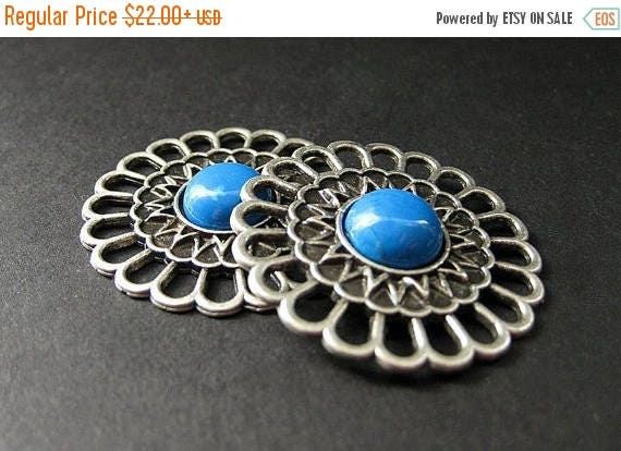 MOTHERS DAY SALE Two (2) Aged Silver Viking Brooches. Aqua Howlite Apron Pins. Historical Jewelry. Norse Shoulder Brooches. Historical Renai