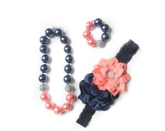 Navy necklace, Coral bubblegum necklace, little girl necklace chunky bead necklace, bubble gum necklace, toddler necklace baby girl necklace