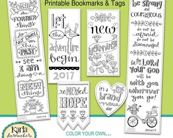 2017 NEW BEGINNINGS New Year Color-Your-Own Bookmarks  Bible Journaling Tags Tracers INSTANT download Scripture Digital Printable Christian