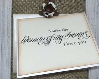 To the WOMAN Of My Dreams Wedding Card, To My BRIDE Love Card, Wedding Stationery, Wedding Note Card