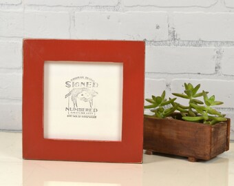 "6x6"" Square Frame - In Stock - in 1.5 inch standard style with Vintage Brick Red Finish - Same Day Shipping - Rustic 6 x 6 Photo Frame"