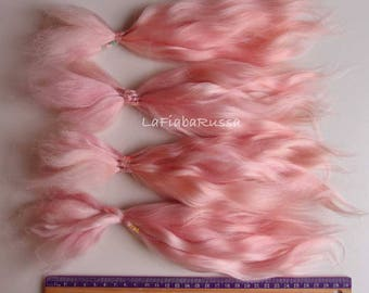 Doll Hair Combed Mohair  pink extra long 11 in pink/ organic mohair goat/ reroot/  Reborn/ lati, puki, barbi, bjd wig