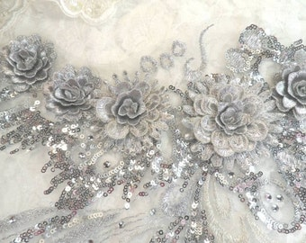 """Embroidered 3D Applique Silver Floral Ballet Sequin Patch Rhinestone Accented 20"""" (DH71-sl)"""