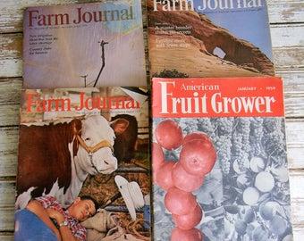 Vintage Magazines, Farm Journal Magazine, Farm Magazine, 1950s 1960s 1970s Magazines, Farm Magazine, Fruit Grower Magazine Lot of Five (5)