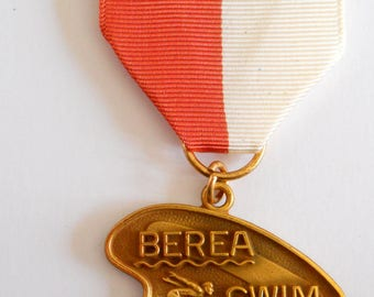 Vintage First Place Berea Swim Club Medal • 1963 Ribbon Pin