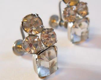 Vintage Rhinestone Earrings • Vintage Screw on Earrings