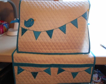 Sewing Machine Cover and Mat-Bird  with Flags- Aqua Blue - Handmade