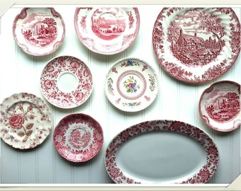 RED TRANSFERWARE China Plate Collection Set of Nine Specially Curated red transferware plates for wall decor or eclectic tea service