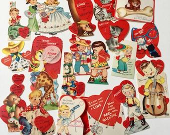 Vintage 1950s 60s Valentine's Day Cards Set of 20 USED / Collectible Ephemera, Animals Anthropomorphic Boys Girls