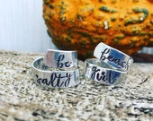 Personalized wrap ring-ring with names- gift for mom- words on ring - adjustable ring-one little word- word of the year