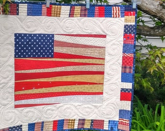 Americana Flag Quilt/Wallhanging Red, White and Blue Patriotic Memorial Day