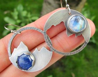 midnight lake and mountains sterling silver earrings - kyanite earrings - moonstone earrings - landscape - moon earrings