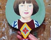 Original painted bat: Sweet Girl Wearing Persian Rug Sweater