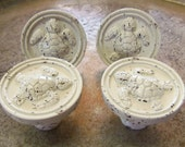 4 Sea Turtle Knobs Distressed Antique White Pulls Chippy Shabby Nautical Tropical Beach Upcycled