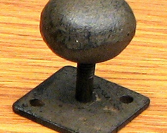FREE SHIPPING 12 Round Iron Knobs Drawer Pulls with Attached Backplate Rustic Cast Iron