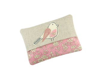 Travel Tissue Holder, Pink Bird Tissue Cosy, Pocket Tissue Case, Gift for Women