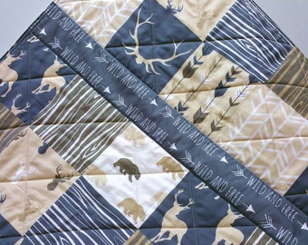 Neutral Baby Quilt-Rustic Woodland-Baby Bedding-Cream-Tan-Charcoal Gray-Brown Crib Blanket-Buck-Bear-Arrows-Antlers-Wild and Free