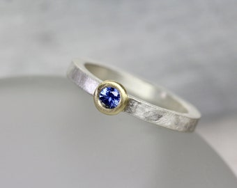 Simple Modern Blue Sapphire Engagement Ring 18K Yellow Gold Silver Bright Cornflower Gemstone Genuine Minimalist Bridal Band - Ceylon Circle
