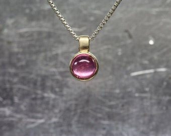 Small Pink Tourmaline 14K Yellow Gold Silver Necklace Round California Gemstone Cabochon Delicate Bezel Gift Idea Her October - Gum Bubble