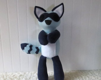 Blue Raccoon Plush, Raccoon, Woodland Plush, Navy Blue Raccoon